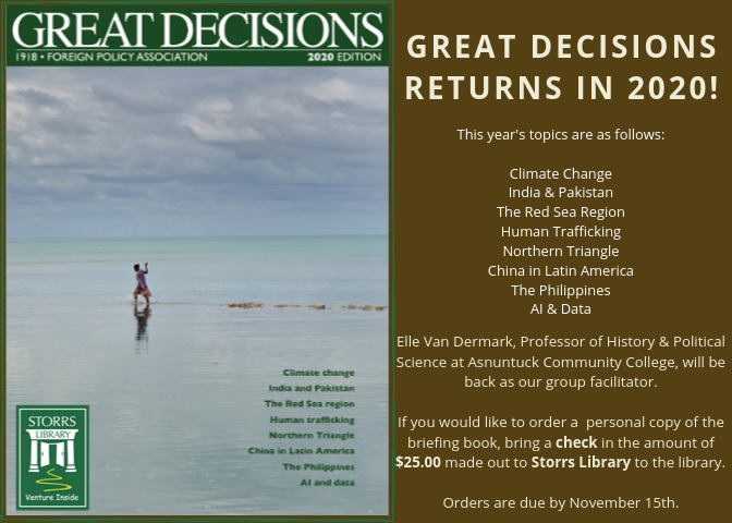 Great Decisions Will Be Returning To Storrs Library This Winter!