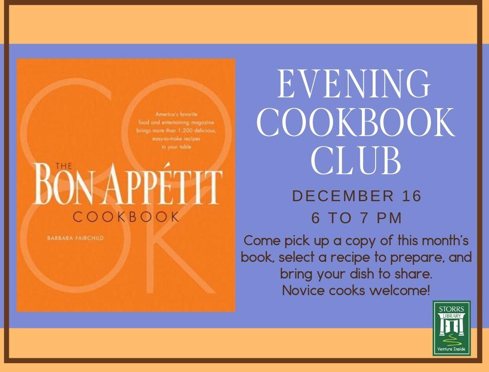 Flyer for December Evening Cookbook Club
