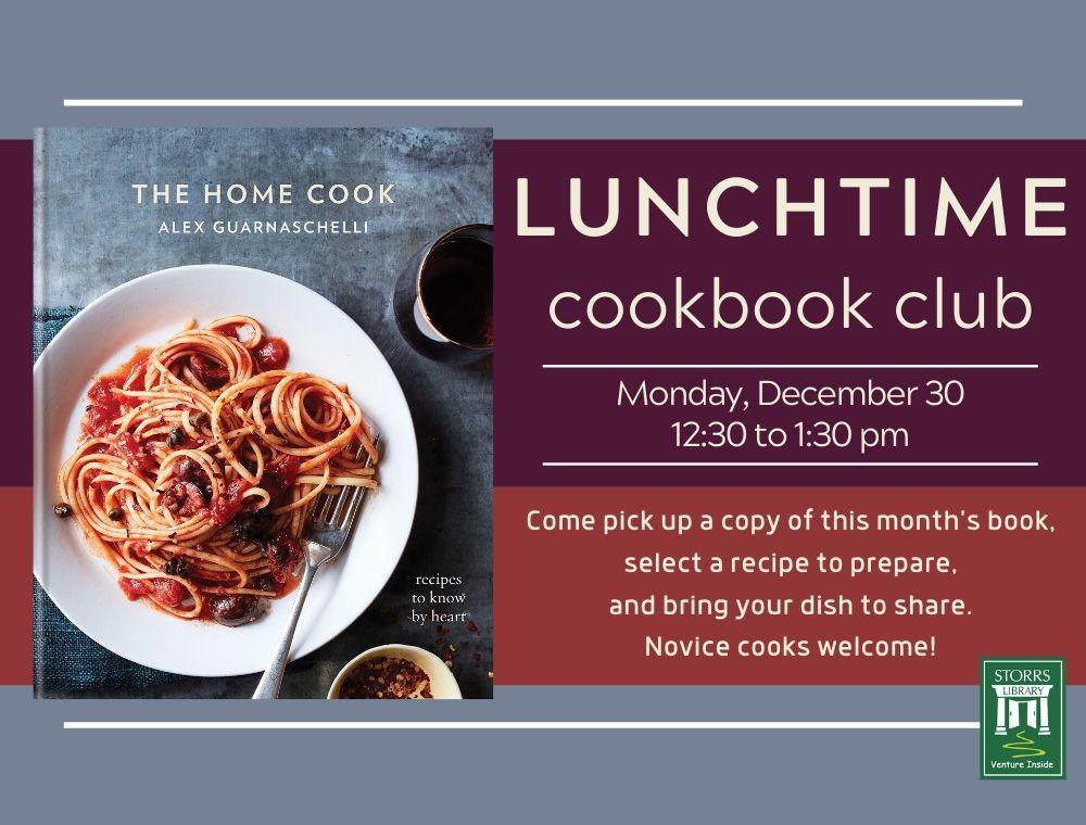 Flyer for December Lunchtime Cookbook Club