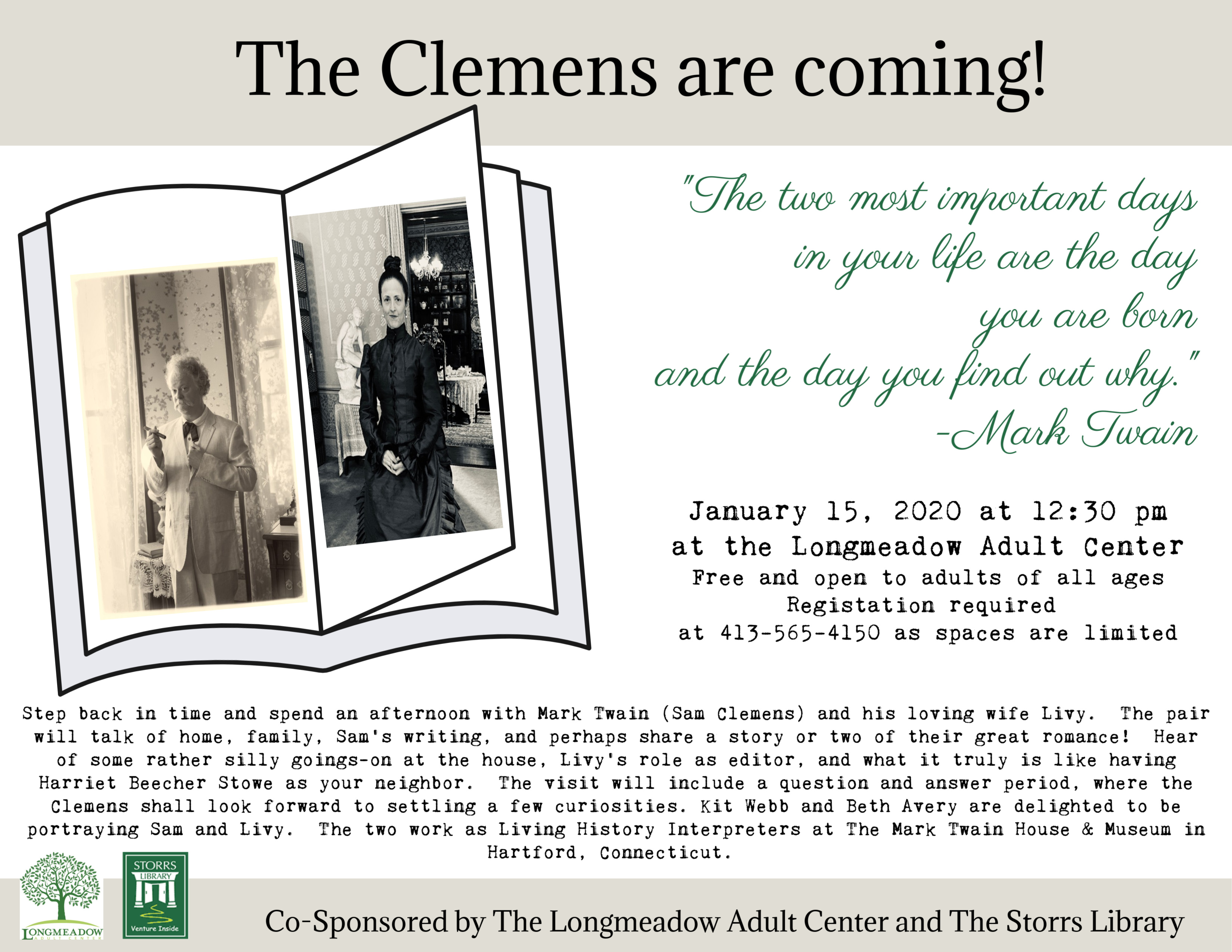 """Flyer for """"A Visit with Mark Twain and Livy Clemons"""""""