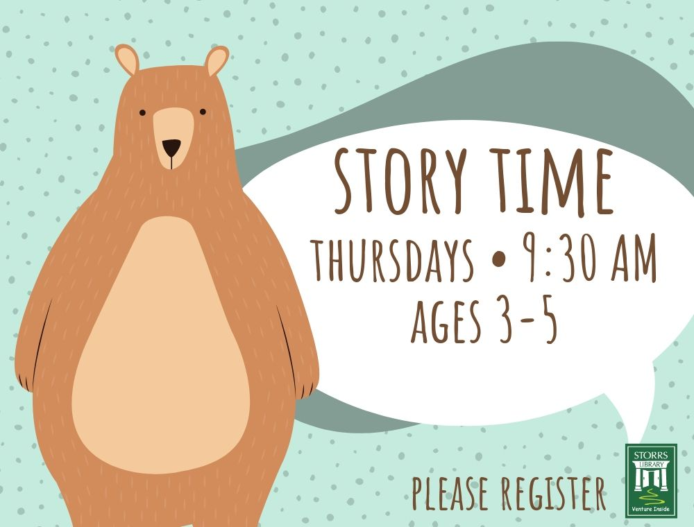Flyer for Story Time ages 3-5