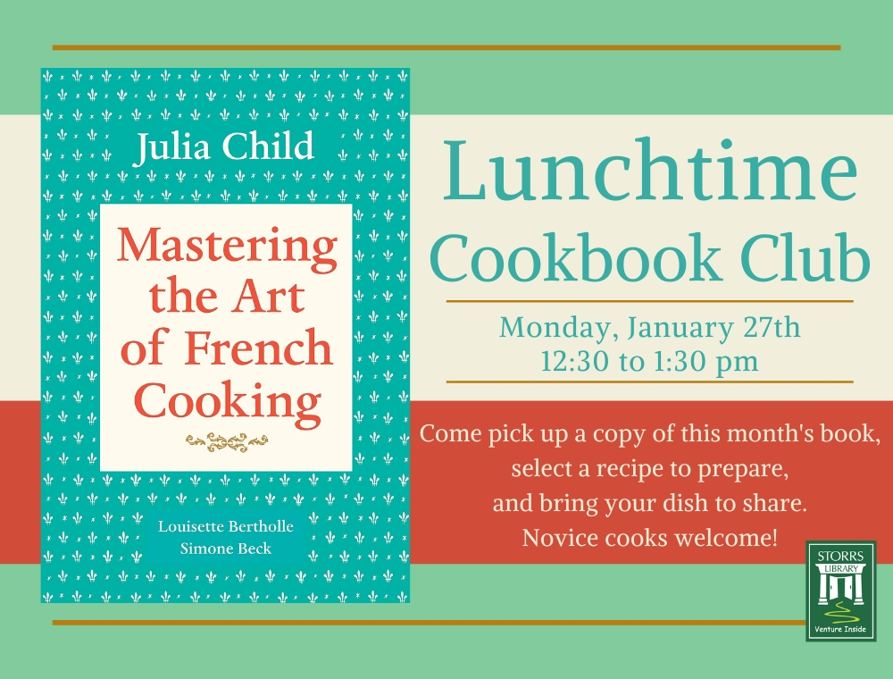 Flyer for January Lunchtime Cookbook Club