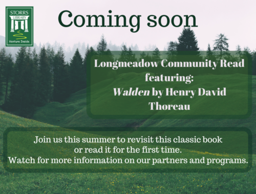 Longmeadow Community Read coming soon, featuring Walden by Henry David Thoreau