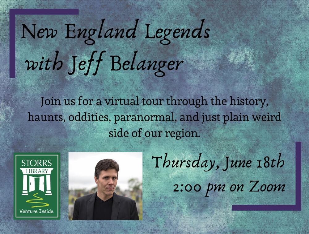 Flyer for New England Legends with Jeff Belanger