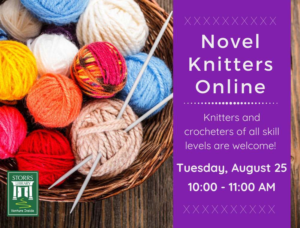 Flyer for August Novel Knitters Online