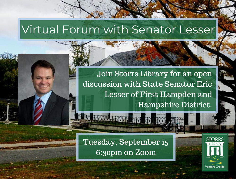 Flyer for Virtual Forum with Senator Lesser