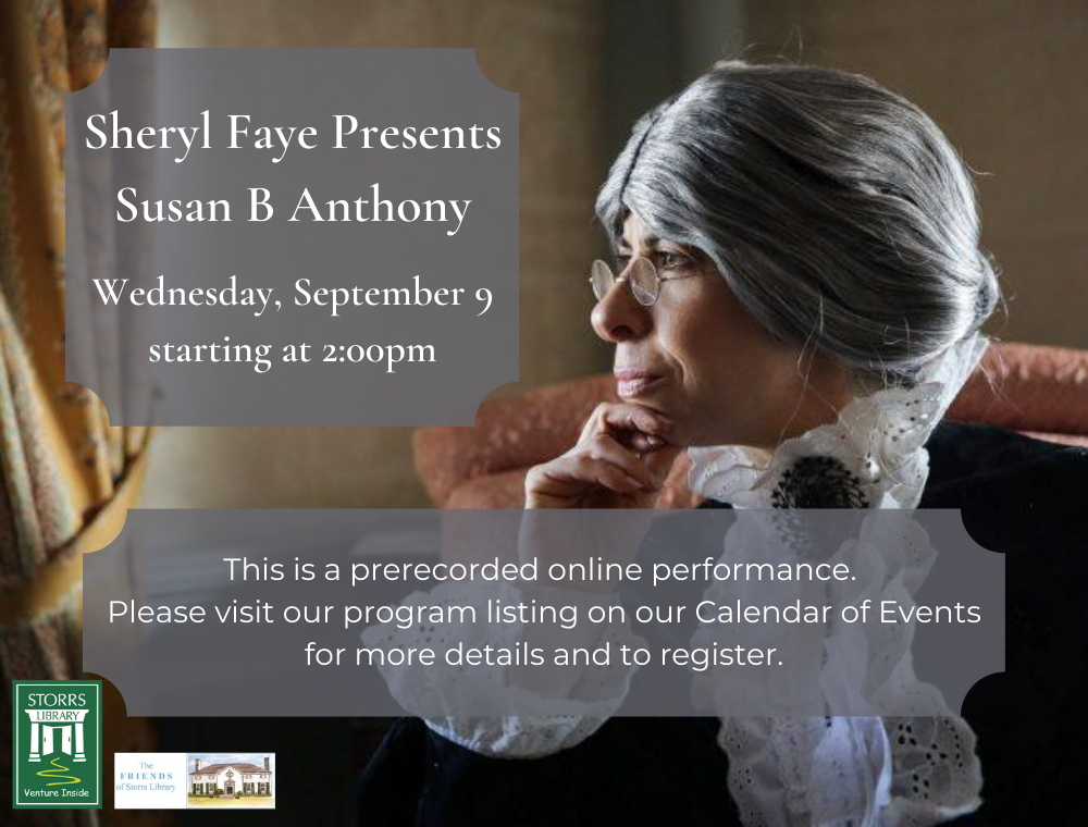 Flyer for Sheryl Faye Presents Susan B Anthony