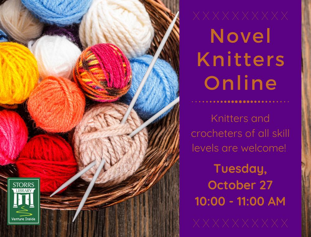 Flyer for October Novel Knitters Online
