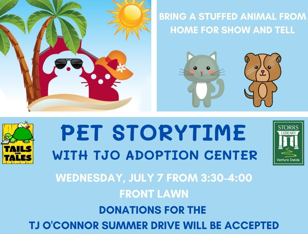 Flyer for Pet Storytime with TJ O'Connor
