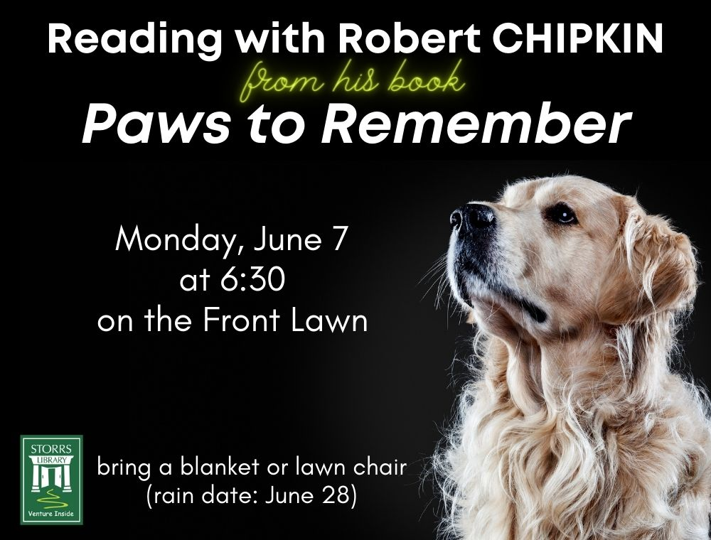 Flyer for Reading with Robert Chipkin: Paws to Remember