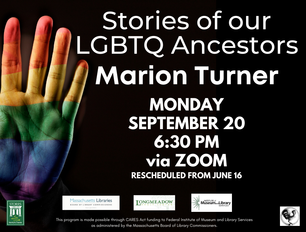 Flyer for Stories of our LGBTQ Ancestors: Marion Turner