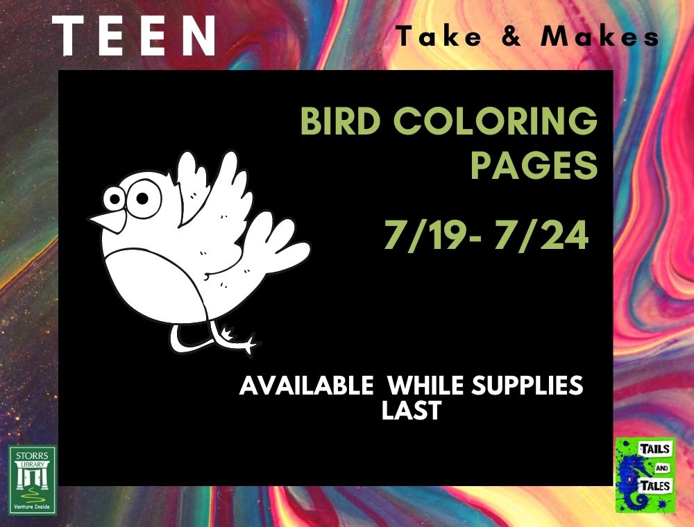 Flyer for Teen Take and Make Bird Coloring Pages
