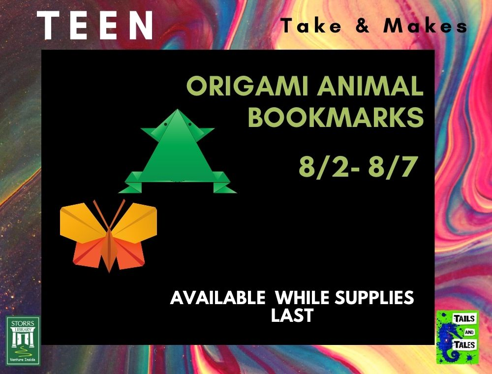 Flyer for Teen Take and Make Origami Animal Bookmarks