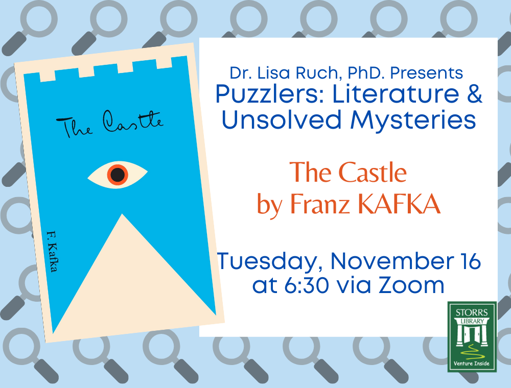 Flyer for Lisa Ruch Presents Puzzlers: Literature and Unsolved Mysteries